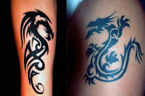 Tribal Dragon Tattoo Sleeve