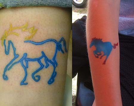 Blue horse tattoos tattoos designs ideas meaning for Blue horseshoe tattoo
