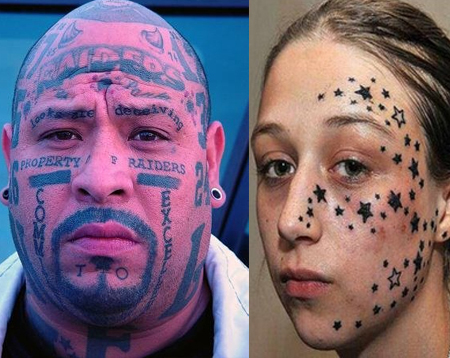 Face tattoos cool and somewhat scary face tattoo designs for Tattoo mole on face