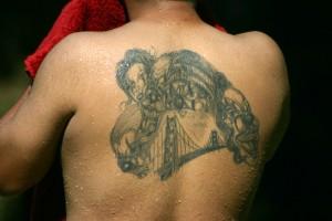 five evil clowns and a bridge tattoo