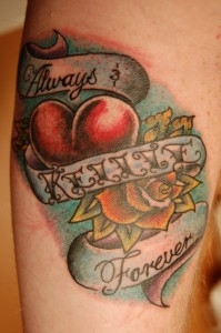 heart and flower tattoo