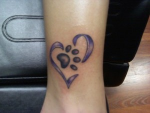Ankle Heart with Paw Print Tattoo