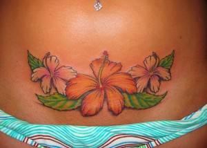 Three Hawaiian Flowers Tattoos