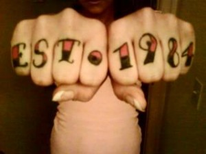 Year Knuckle Tattoo