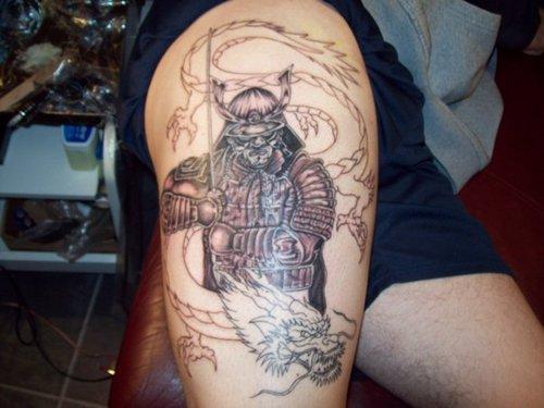 17 amazing samurai tattoos tattoo me now for Dragon and samurai tattoo meaning