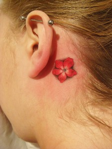 Ear Hawaiian Flower Tattoo
