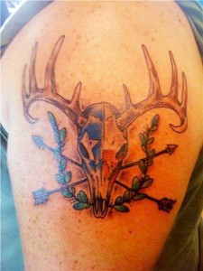 Skull and Arrows Hunting Tattoo