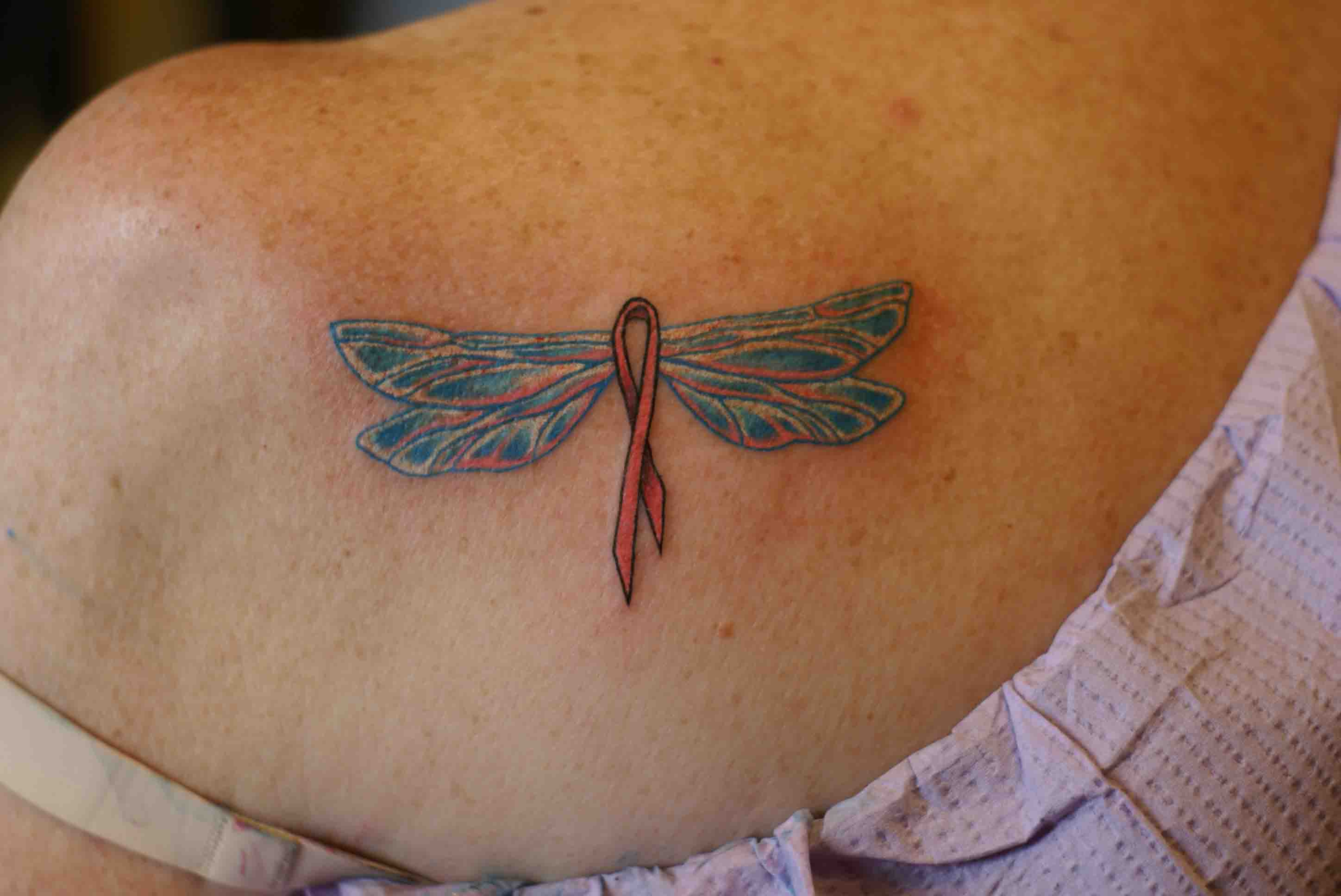 Cancer Ribbon With Angel Wings Tattoo