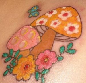 Colorful Mushroom Tattoo