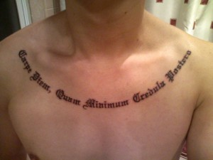 Chest Design Latin Quote Tattoo