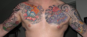 Bold Flower Tattoo for the Chest
