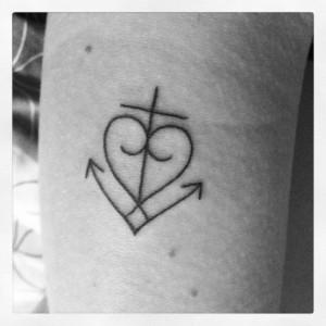 Black Outlined Faith Tattoo