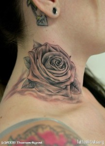 Black Rose Neck Tattoo