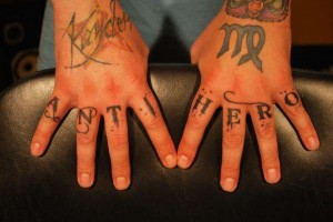 Anti-Hero Knuckle Tattoo