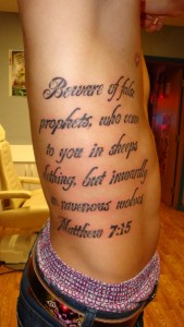 Beware of False Prophets Bible Verse Tattoo
