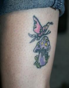 Line Art Mushroom Tattoo