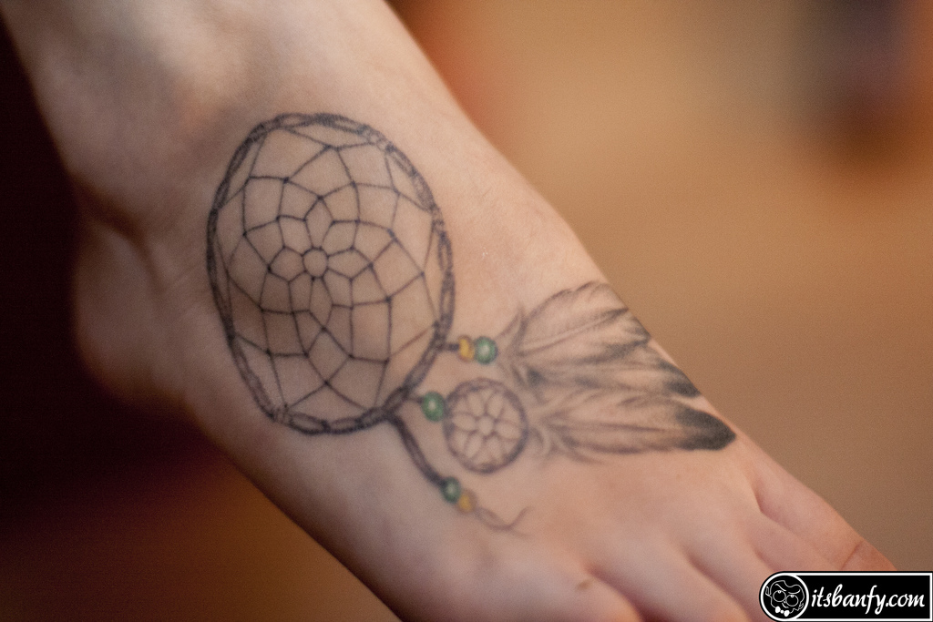 Dream Catcher Tattoo On Foot