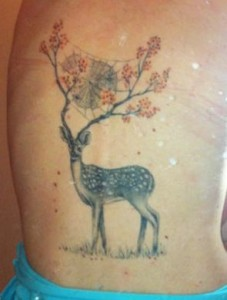 Deer Tattoo with Antler as trees