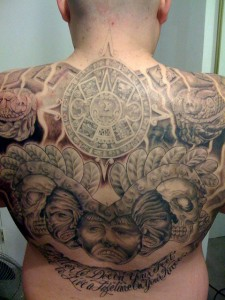 Aztec inspired back tattoo