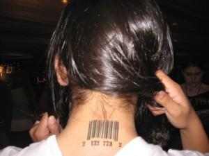 Bar Code Neck Tattoo