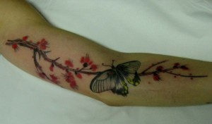 cherry blossom butterfly tattoo