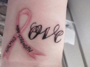 Love tattoo  for Breast cancer awareness