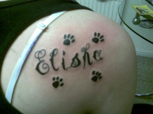 Paw Print and Name Tattoo