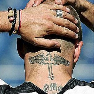Cross with Wings Neck Tattoo