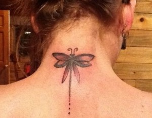 Dragonfly Neck Tattoo