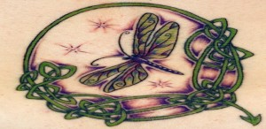 dragonfly tat with celtic influences