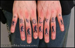 Evolution Knuckle Tattoo