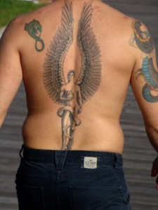 angel wing back tattoo