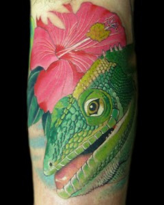 Jamaican Anole Lizard and Hibiscus Flower Tattoo