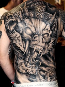 Dark Ink Japanese Dragon Tattoo