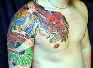 Shoulder Draped Japanese Dragon Tattoo