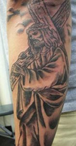 Grey-scale Jesus Tattoo