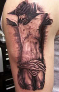 Grey Scale Jesus Tattoo