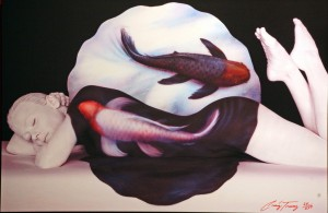 koi and yin yang painting