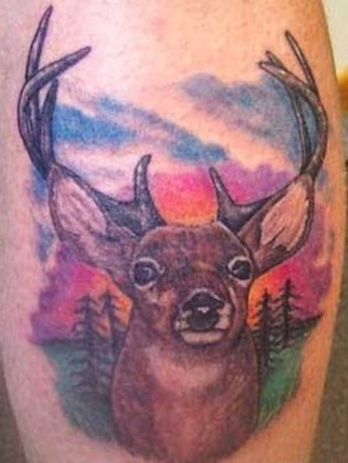 Realistic doe tattoo