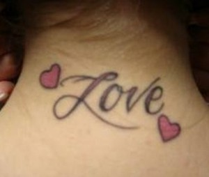 Love in Pink Neck Tattoo