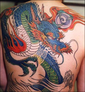 Large Colorful Japanese Dragon Tattoo