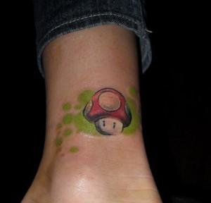 Video Game Mushroom Tattoo