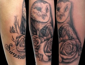 Owl and roses tattoo