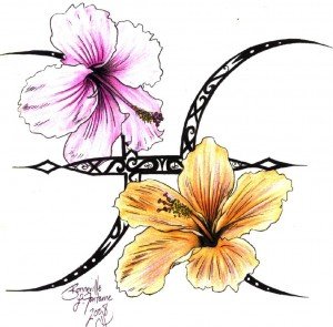 Pisces_Hibiscus_Tattoo Design