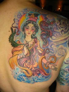 Tattoo with Chinese Goddess Guanyin