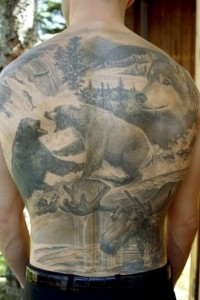 Full Back Hunting Tattoo