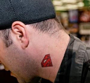 Superman Logo Neck Tattoo