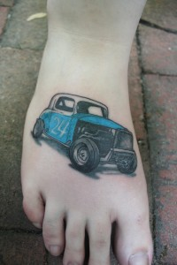Tattoo of old car