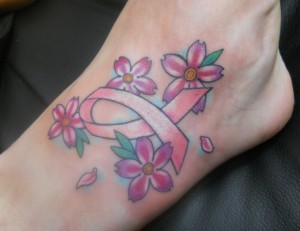 Pink Ribbon and Flower tattoo