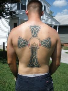 Celtic Cross Back Tattoo